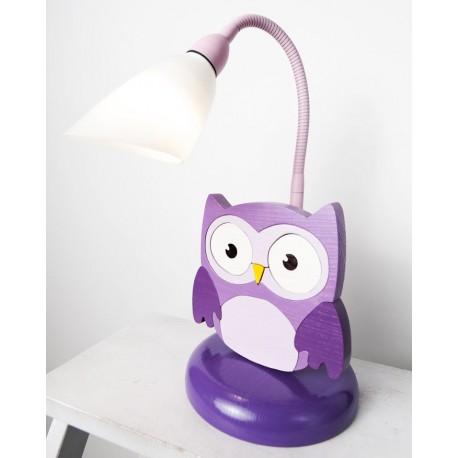 Detská stolná lampa - sova fialová