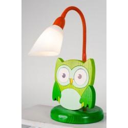 Detská stolná lampa - sova zelená