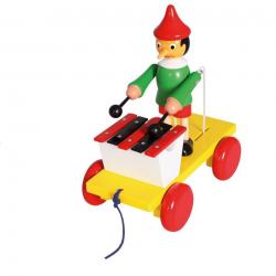 Woody Drevená hračka na ťahanie - Pinocchio s xylofónom