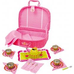 Detská čajová súprava v piknikovom košíku Flower