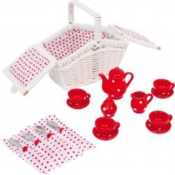 Detská porcelánová čajová súprava Tina - malá v hranatom bielom košíku