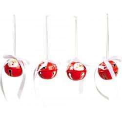 Legler Vianočné ozdoby na zavesenie  - roľničky veľké 4 kusy - červené so snehuliakom