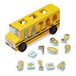 Melissa & Doug Drevená vkladačka - Školský autobus s číslicami