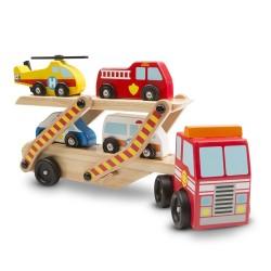 Melissa & Doug Drevený kamión na prepravu záchranárskych autíčiek