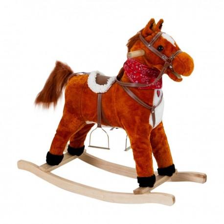Detský plyšový hojdací koník so zvukmi - 70 cm hnedý so šatkou