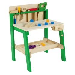 Detský pracovný stôl z dreva so zverákom a doplnkami - zelený