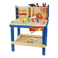 Detský pracovný stôl z dreva so zverákom a doplnkami - modrý