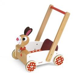 JANOD Drevené chodítko a vozík na tlačenie Veselý zajac