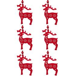 Ozdoby na vianočný stromček z filcu 6 ks - snehuliaci červení