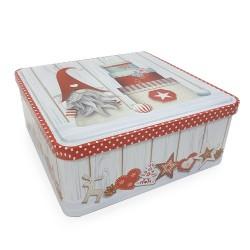 Vianočná plechová dóza 20 x 8 x 20 cm - Škriatok s darčekmi