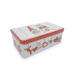 Vianočná plechová dóza - obdĺžniková 16 x 11 x 6 cm - Škriatok s darčekmi