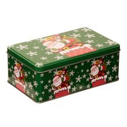 Vianočná plechová dóza - obdĺžniková s Mikulášm 18 x 11 x 7 cm