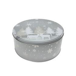 Vianočná plechová dóza - okrúhla 13,5 x 13,5 x 7 cm - zasnežený les