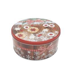 Vianočná plechová dóza - okrúhla 13,5 x 13,5 x 7 cm - vianočné pečivo