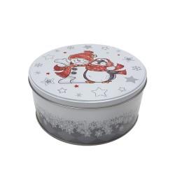 Vianočná plechová dóza - okrúhla 13,5 x 13,5 x 7 cm - snehuliak s pingvinom
