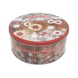 Vianočná plechová dóza - okrúhla 16,5 x 16,5 x 8 cm - vianočné pečivo
