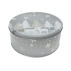 Vianočná plechová dóza - okrúhla 16,5 x 16,5 x 8 cm - zasnežený les