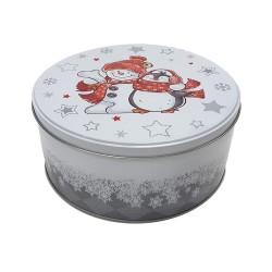 Vianočná plechová dóza - okrúhla 16,5 x 16,5 x 8 cm - snehuliak s pingvinom