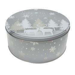 Vianočná plechová dóza - okrúhla 19,5 x 19,5 x 9 cm - zasnežený les
