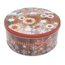Vianočná plechová dóza - okrúhla 19,5 x 19,5 x 9 cm - vianočné pečivo