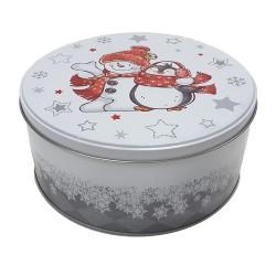 Vianočná plechová dóza - okrúhla 19,5 x 19,5 x 9 cm - snehuliak s pingvinom