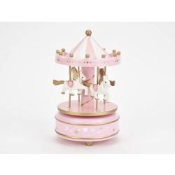 Hrací kolotoč s koníkmi - ružový