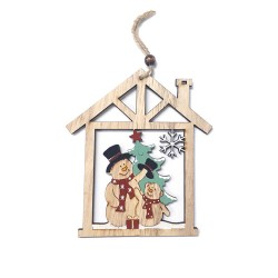 Drevená závesná deklorácia do okna - Snehuliak