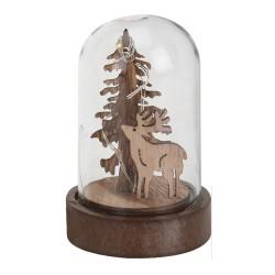 Vianočná LED svietiaca dekorácia v skle - Stromček a jeleň