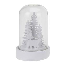 Vianočná LED svietiaca dekorácia v skle biela - Stromčeky a medveď