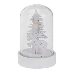 Vianočná LED svietiaca dekorácia v skle biela - Stromček a jeleň