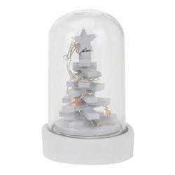 Vianočná LED svietiaca dekorácia v skle biela - Vianočný stromček