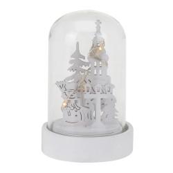 Vianočná LED svietiaca dekorácia v skle biela - Kostol a snehuliak