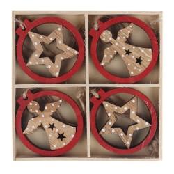 IMP-EX Drevené ozdoby na vianočný stromček 8 ks - anjeliky a hviezdičky
