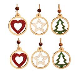 Drevené ozdoby na vianočný stromček 6 ks - hviezdičky, srdiečka, stromčeky v kruhu s farebnými trblietkami