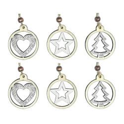 Drevené ozdoby na vianočný stromček 6 ks - hviezdičky, srdiečka, stromčeky v kruhu so striebornými trblietkami