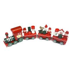 Vianočná dekorácia z dreva - vláčik - červený