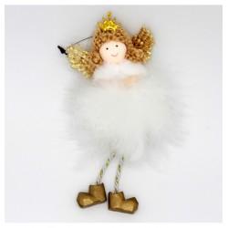 IMP-EX Vianočná ozdoba na zavesenie - anjelik s vločkou - zlatý