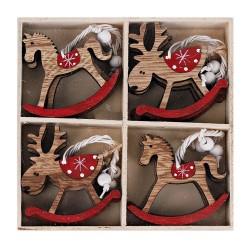 Drevené ozdoby na vianočný stromček 12 ks natur-červené - hojdacie koníky a jelene