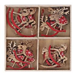 Drevené vianočné ozdoby 24 ks natur-červené - hojdacie jelene a koníky