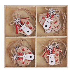 Drevené ozdoby na vianočný stromček 8 ks natur-bielo-červené - jelenie hlavy