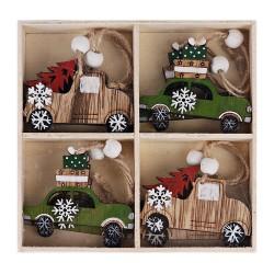 Drevené ozdoby na vianočný stromček 8 ks natur-zelené - autá s darčekmi a stromčekmi