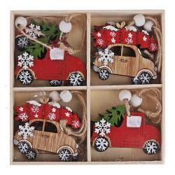 Drevené ozdoby na vianočný stromček 8 ks natur-červené - autá s darčekmi a stromčekmi
