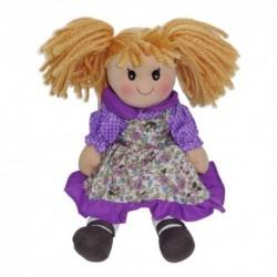 Látková bábika - 30 cm-ová textilná - vo fialových šatách