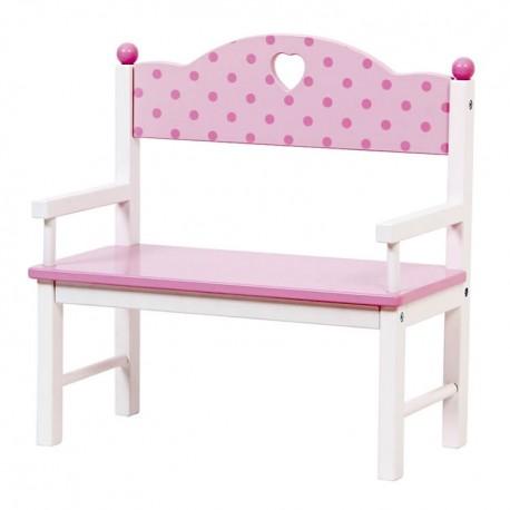 Mentari Detská drevená lavička pre bábiky