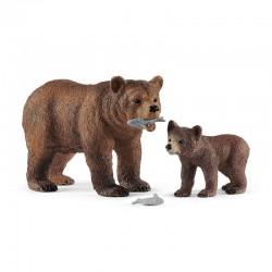 Schleich 42473 medvedica Grizzly s mláďaťom