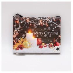"""LED obraz na plátne 22 x 17 cm - Sviečky a nápis Merry Christmas s funkciou """"sfúknutia plameňa"""""""
