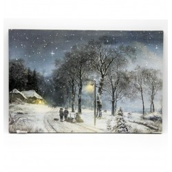 LED obraz na plátne 60 x 40 cm - Zasnežená nočná krajina