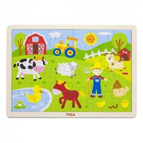 VIGA Drevené puzzle - 24 dielikov - Farma
