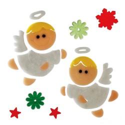 Vianočné ozdoby - nálepky na okno anjeliky biele
