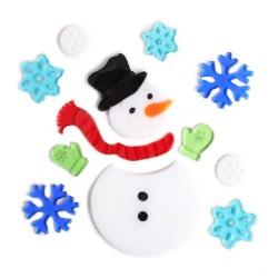 Vianočné ozdoby - nálepky na okno snehuliak a vločky
